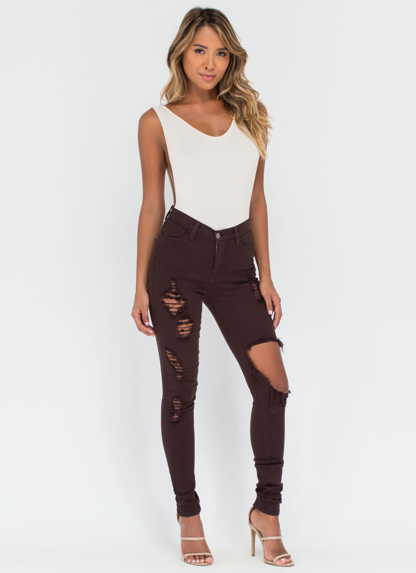 Shred-y To Rock Distressed Skinny Jeans BROWN