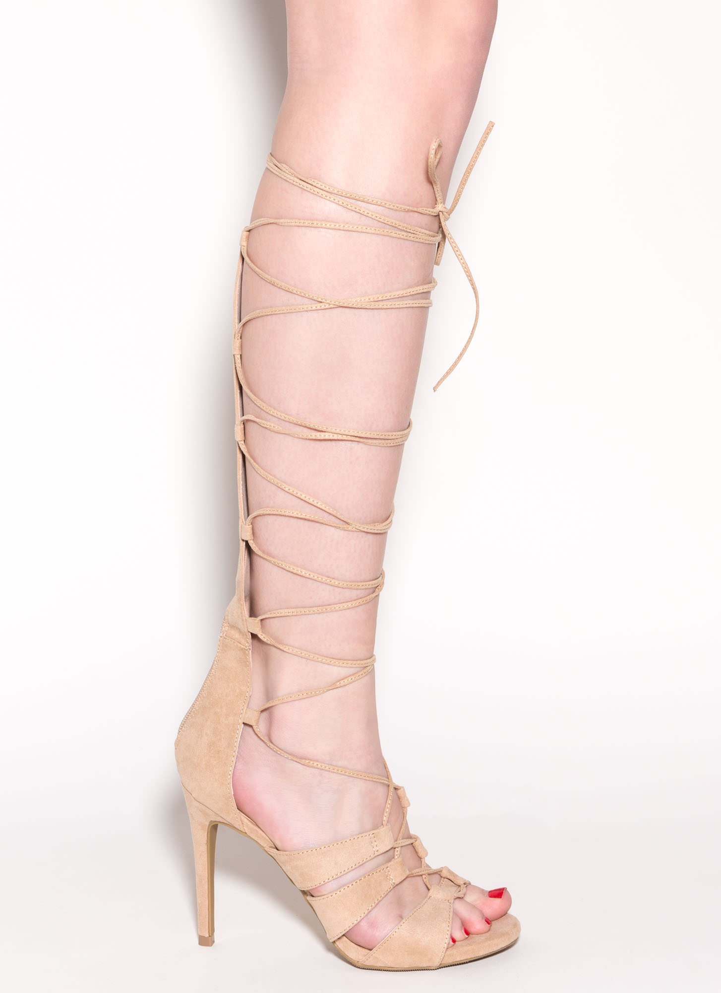 Lotta Length Faux Suede Heels NATURAL