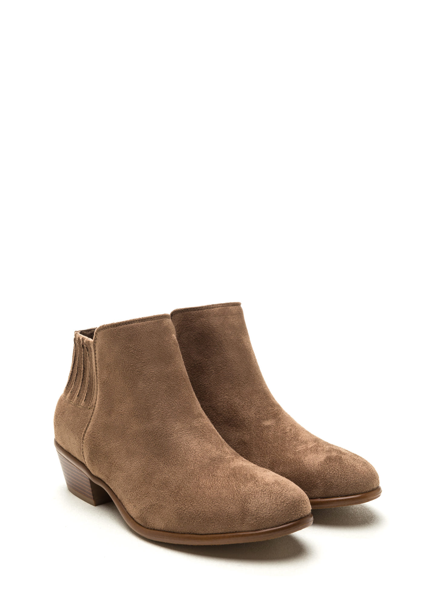 High Street Faux Suede Booties TAUPE