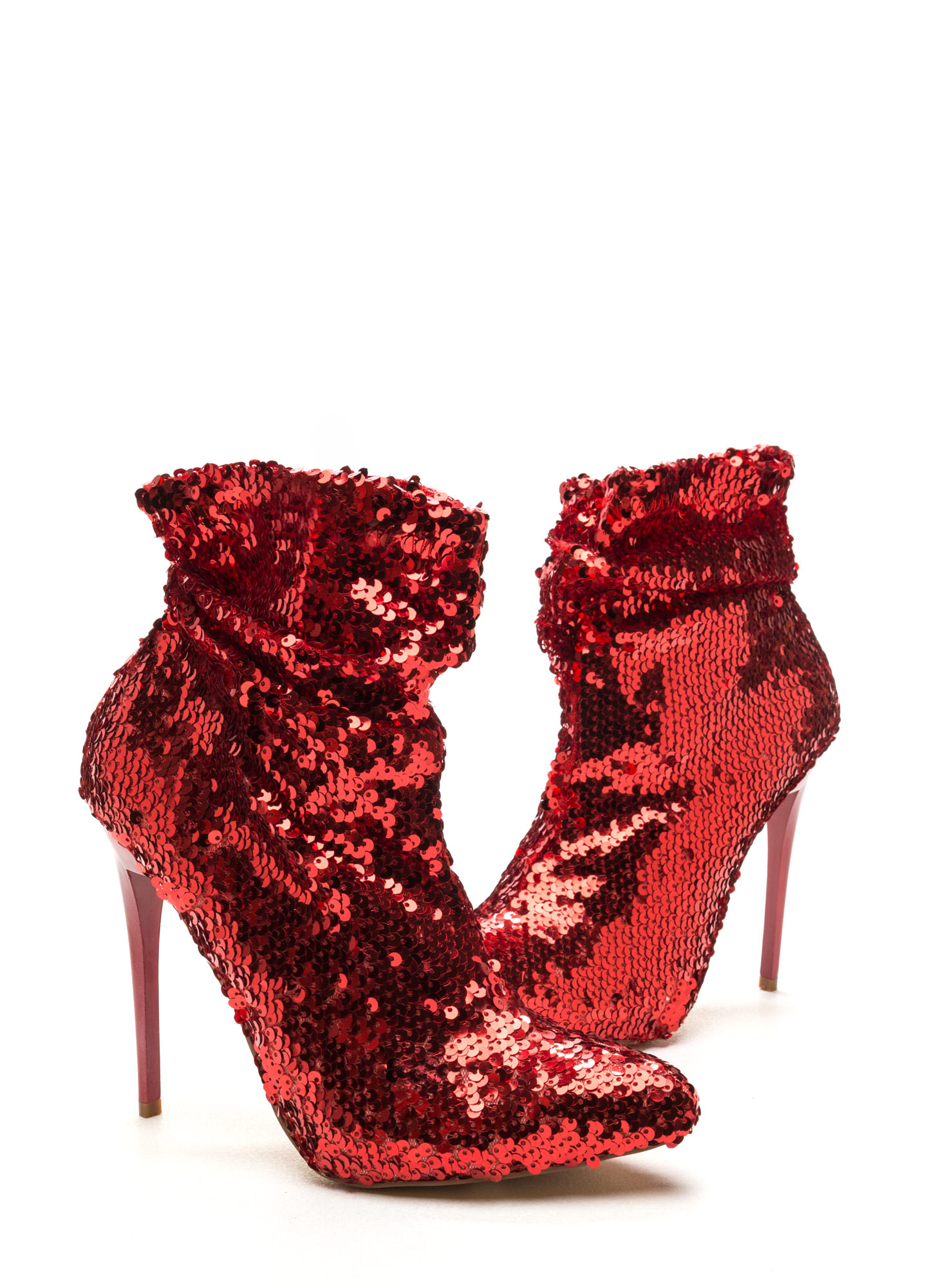 Sequin Chic Pointy Booties RED