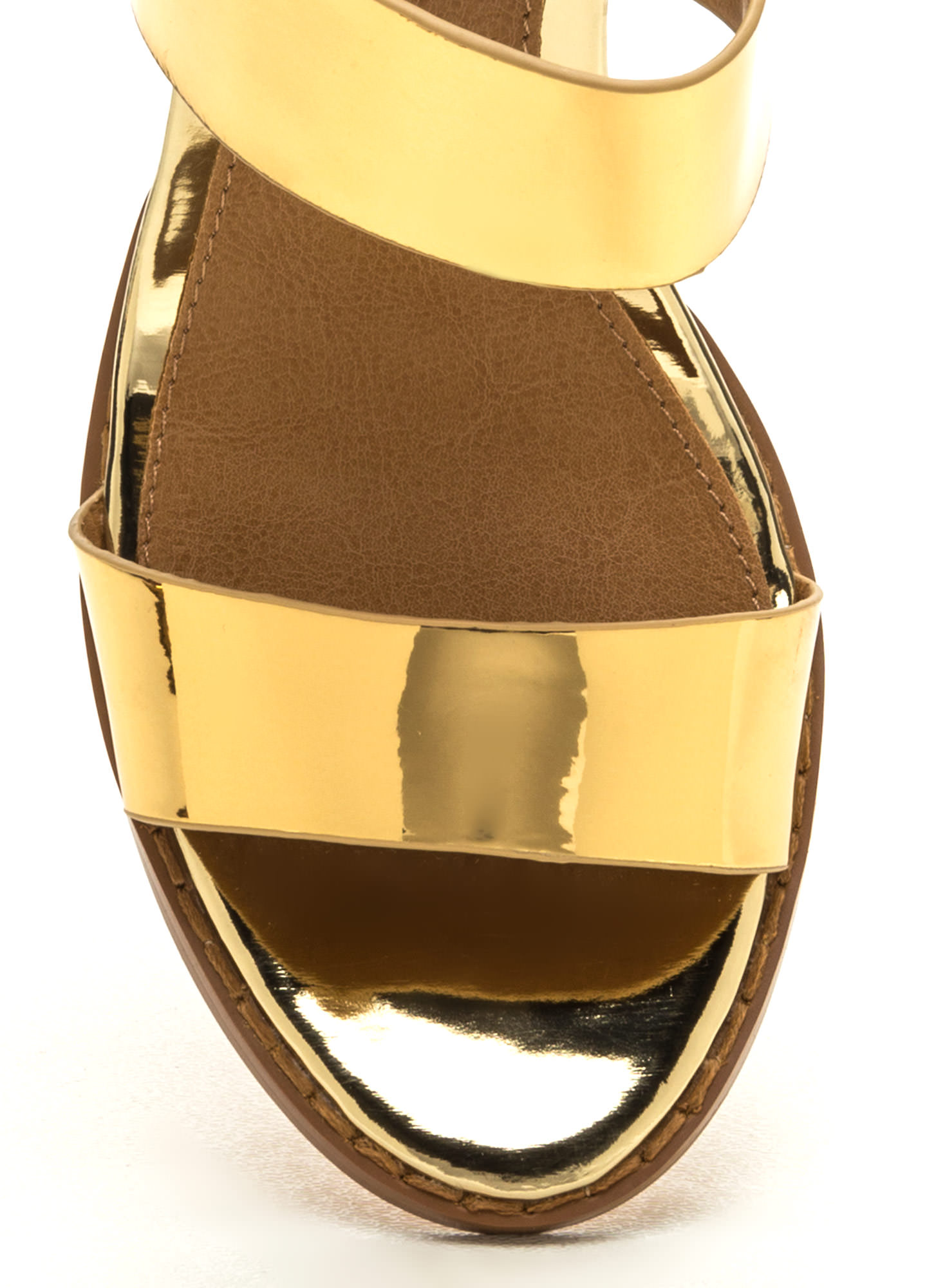 Double The Fun Faux Patent Heels GOLD (Final Sale)