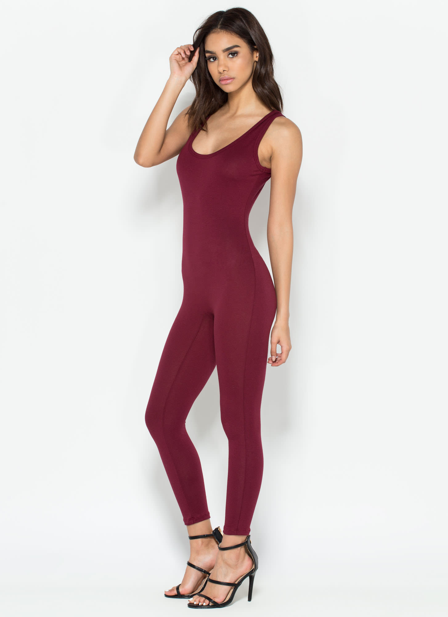 Double Scoop Sleeveless Full Bodysuit BURGUNDY