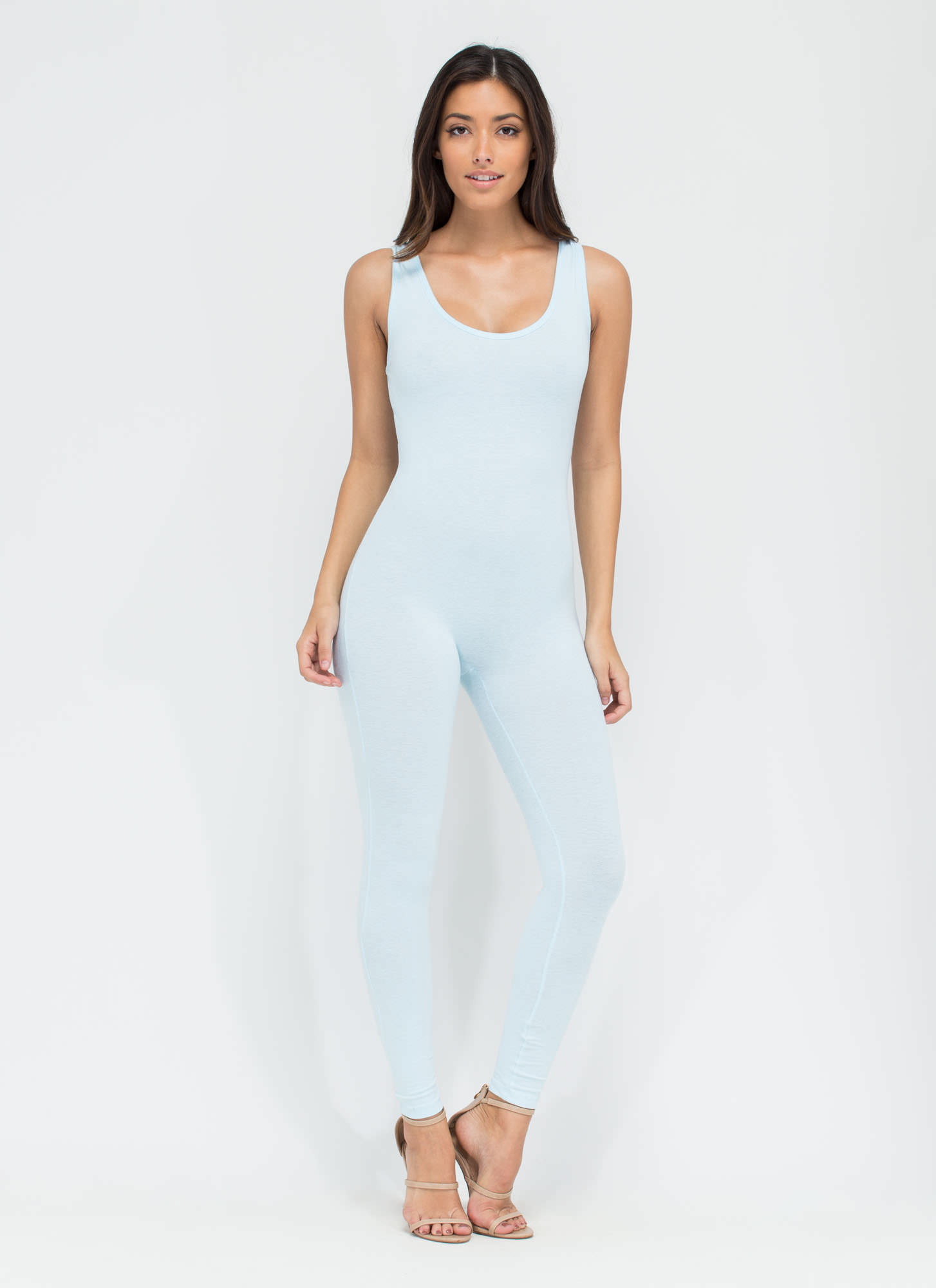Double Scoop Sleeveless Full Bodysuit LTBLUE
