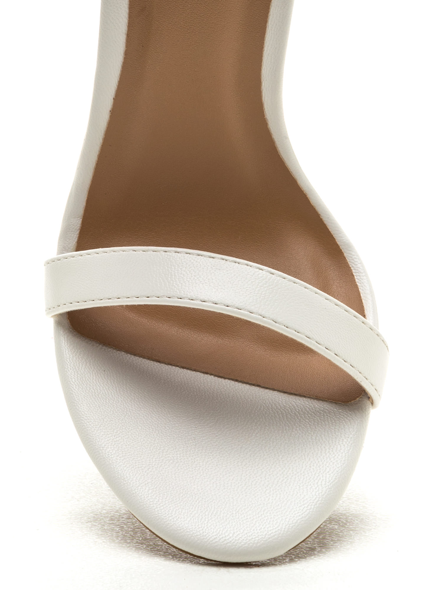 Ready To Single Strap Faux Leather Heels WHITE