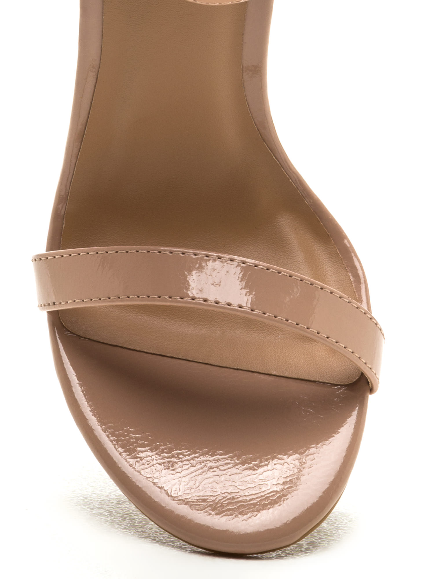 Ready To Single Strap Faux Patent Heels NUDE