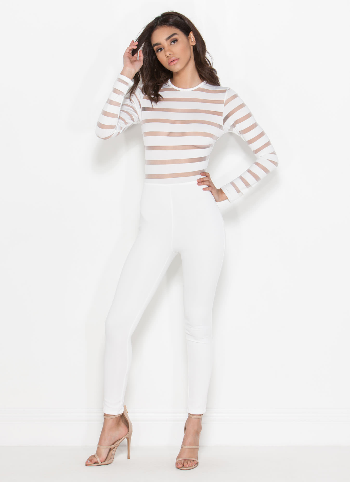 Stripe Together Sheer Jumpsuit