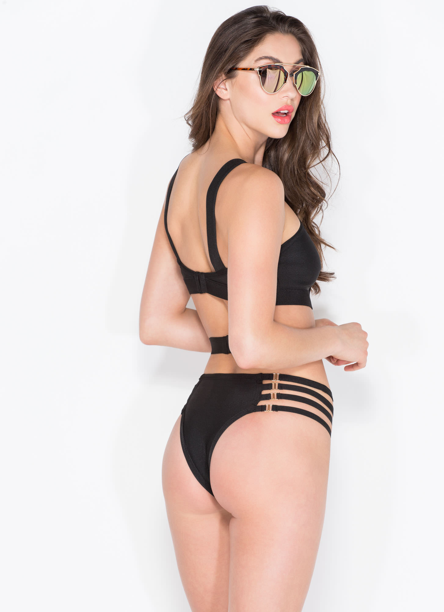 Hook It Up Bandage Swimsuit BLACK (Final Sale)