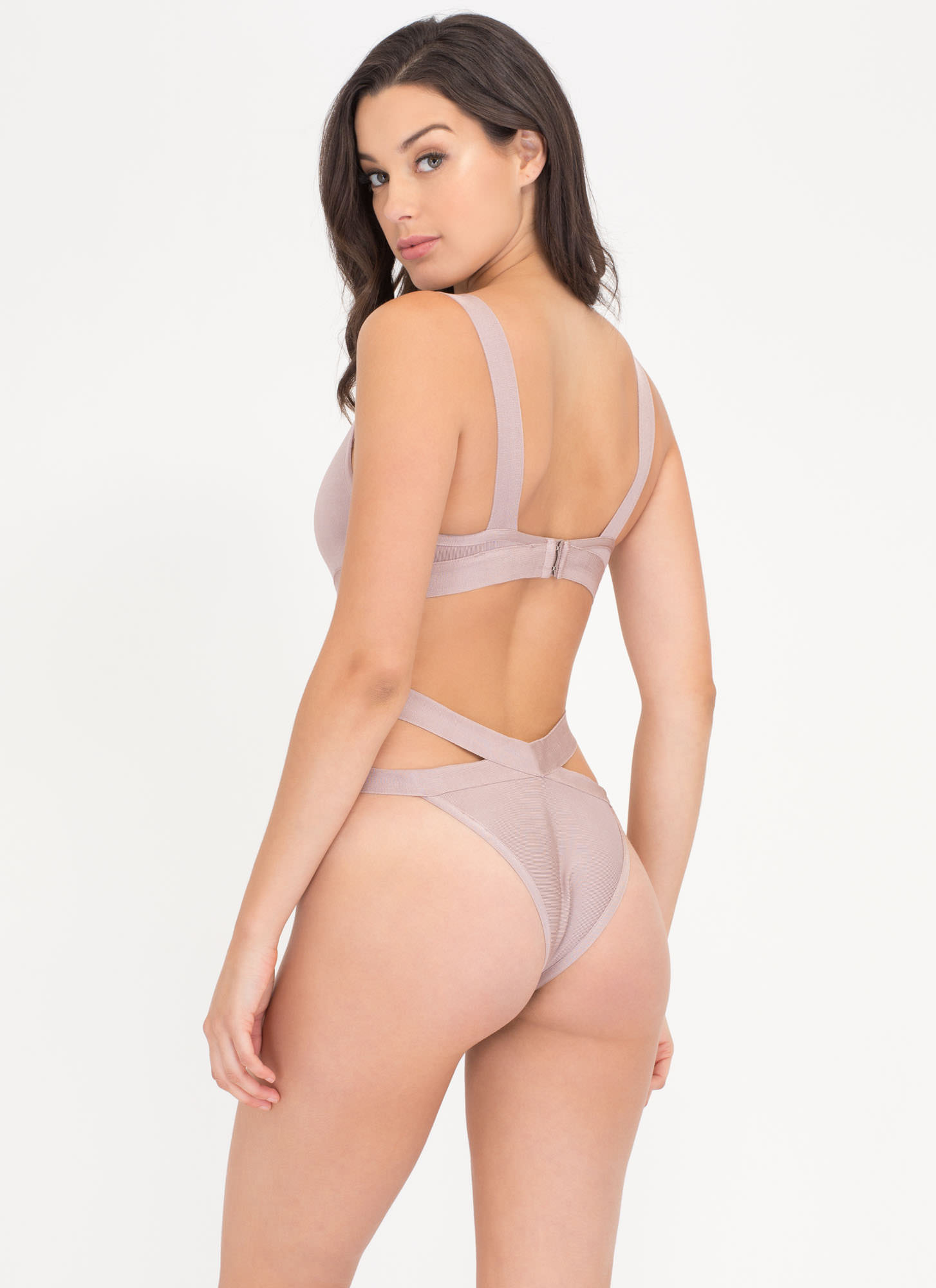 Pretty Sheer One-Piece Bandage Swimsuit LAVENDER (Final Sale)