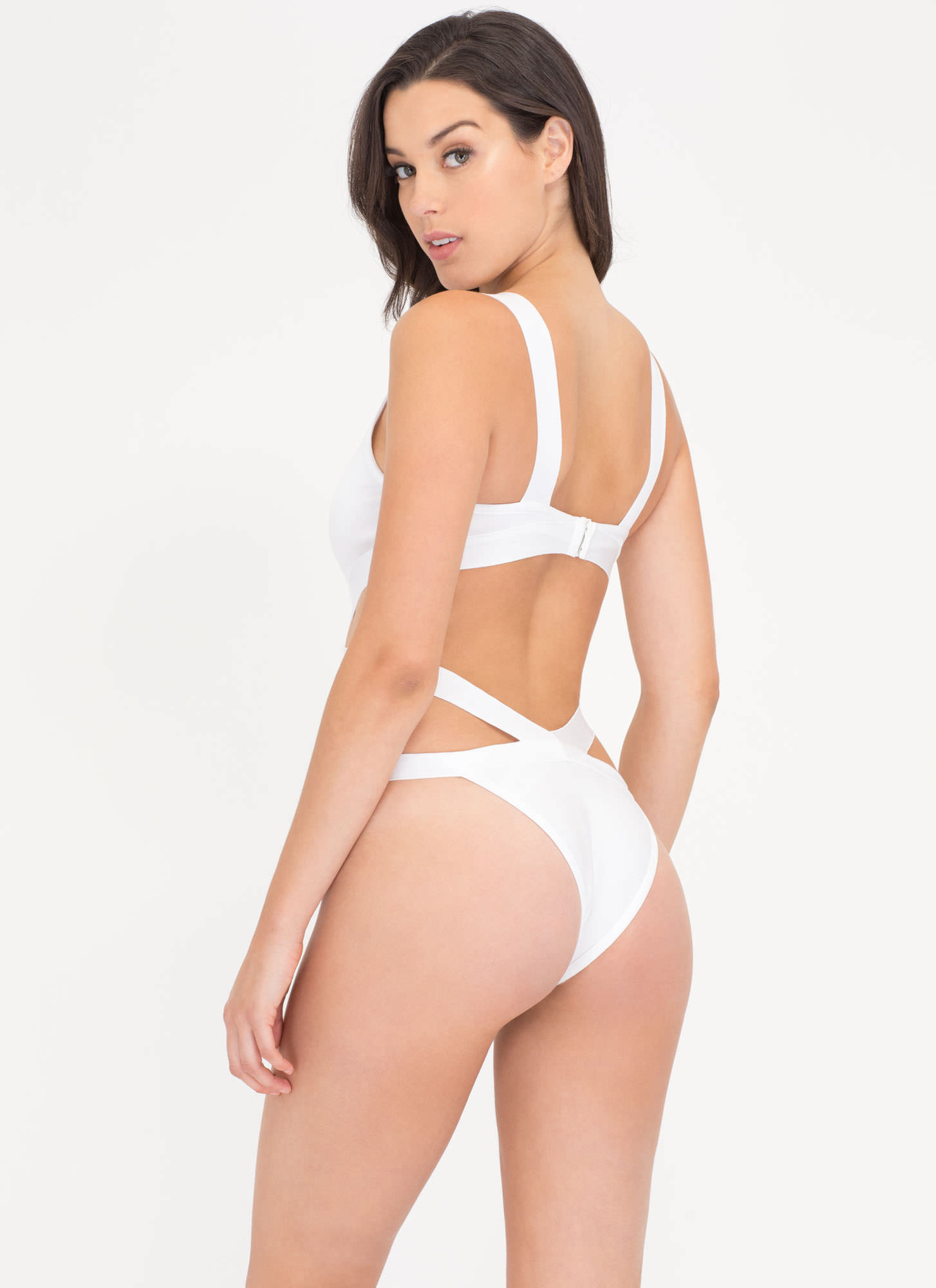 Pretty Sheer One-Piece Bandage Swimsuit WHITE (Final Sale)