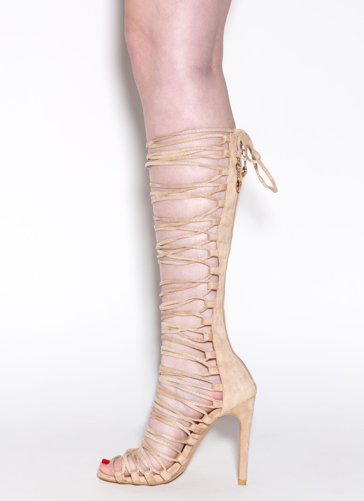 Lace-Up 2 Win Gladiator Sandals NUDE