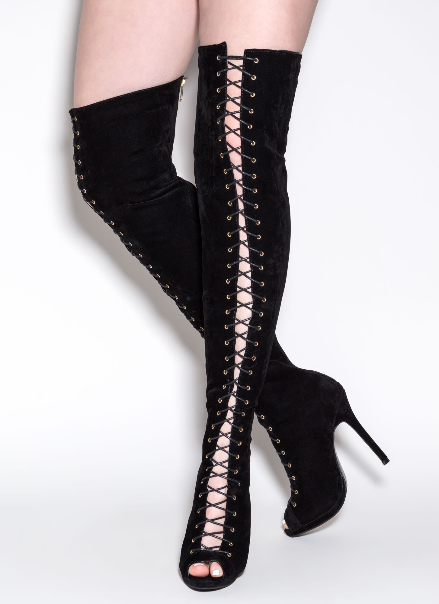 Thrill Of Heights Over-The-Knee Boots BLACK