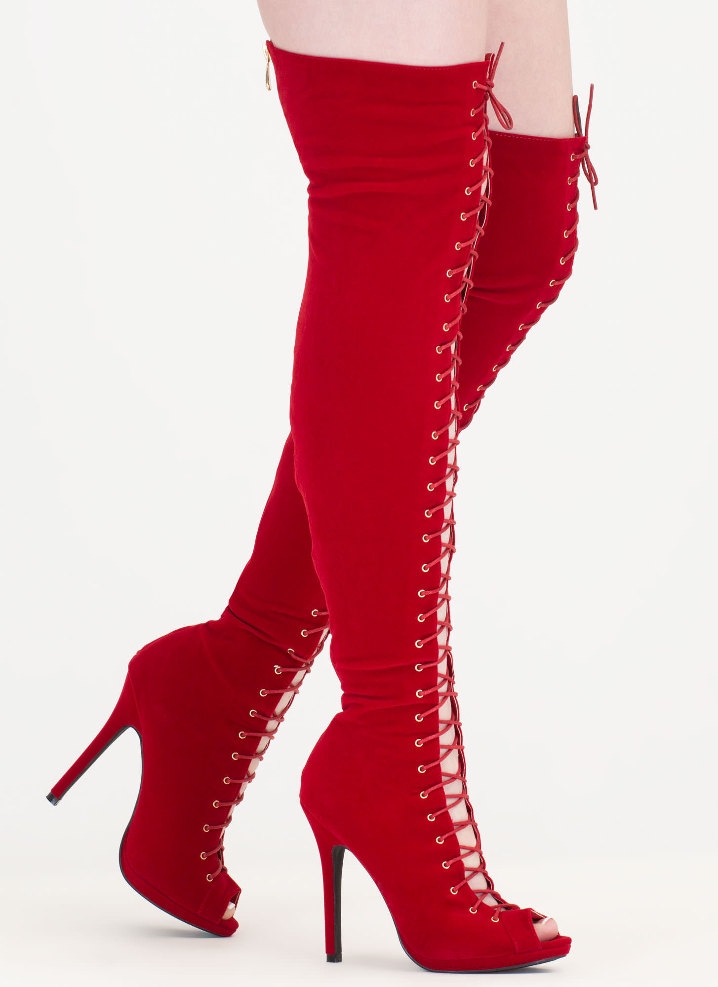 Thrill Of Heights Over-The-Knee Boots RED