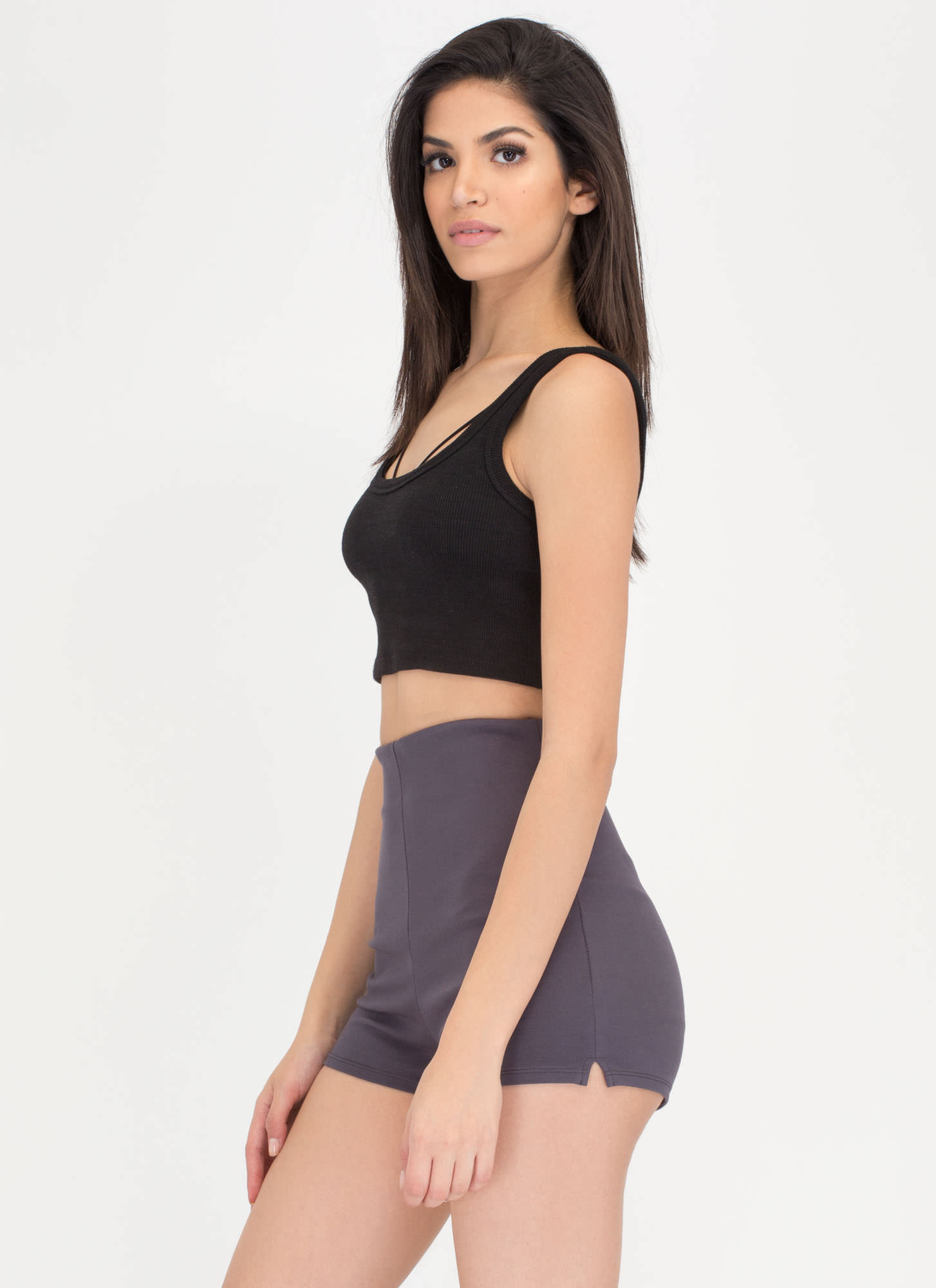 Legs For Days High-Waisted Shorts CHARCOAL
