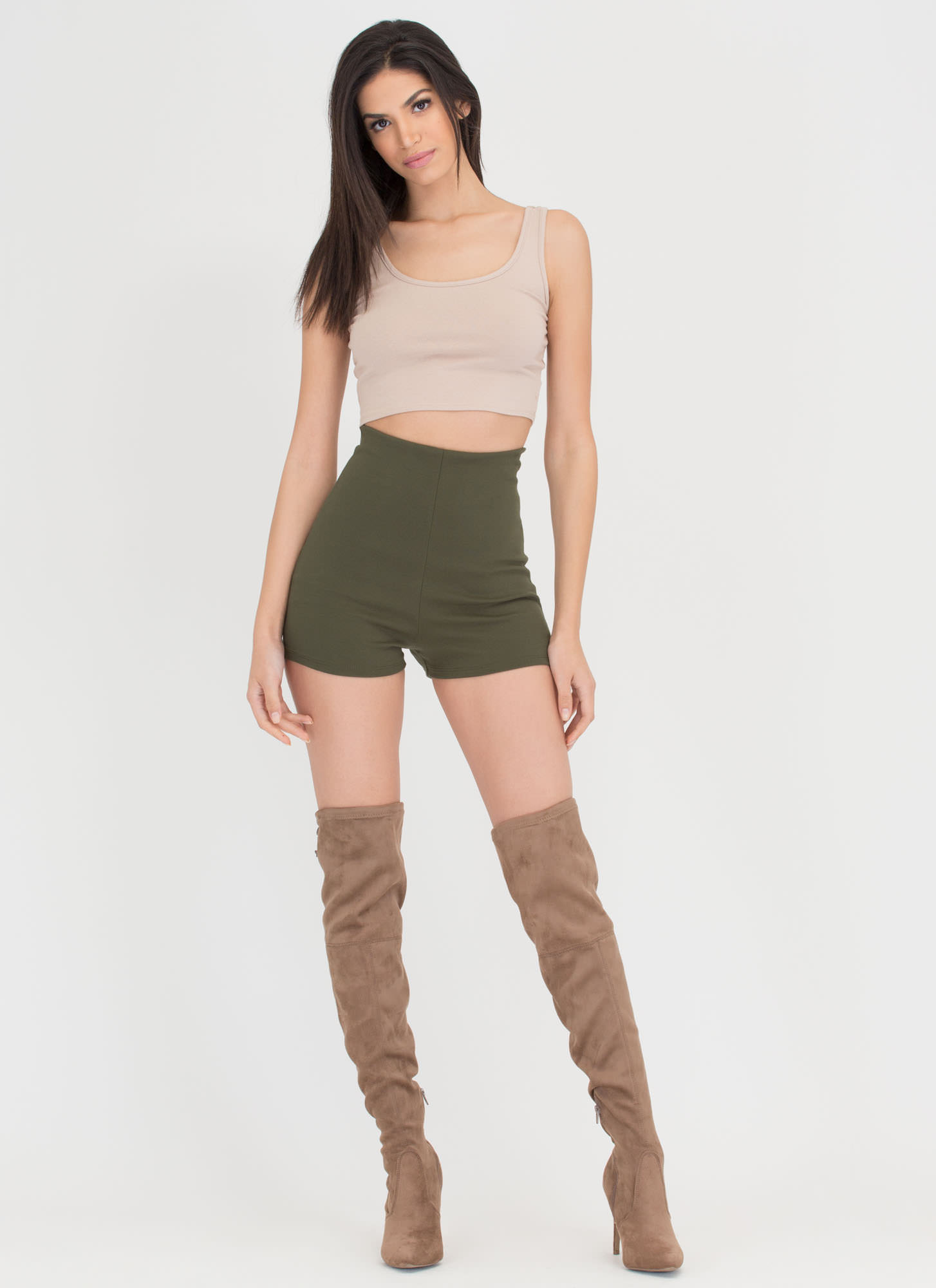 Legs For Days High-Waisted Shorts OLIVE