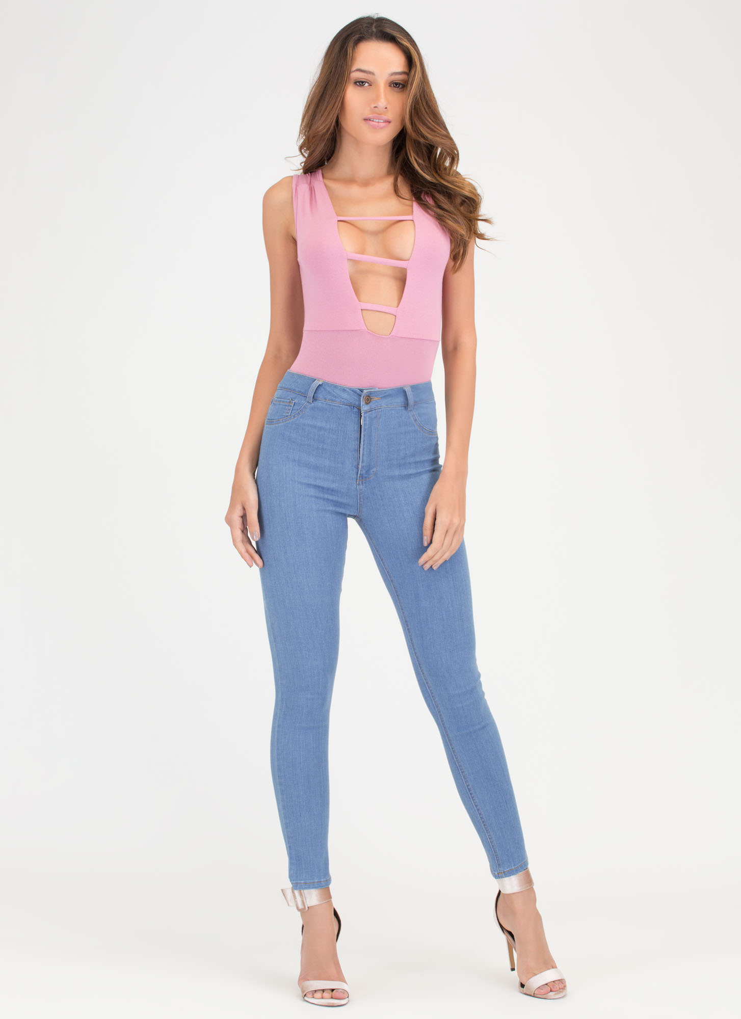 On The Rung Track Strappy Bodysuit MAUVE