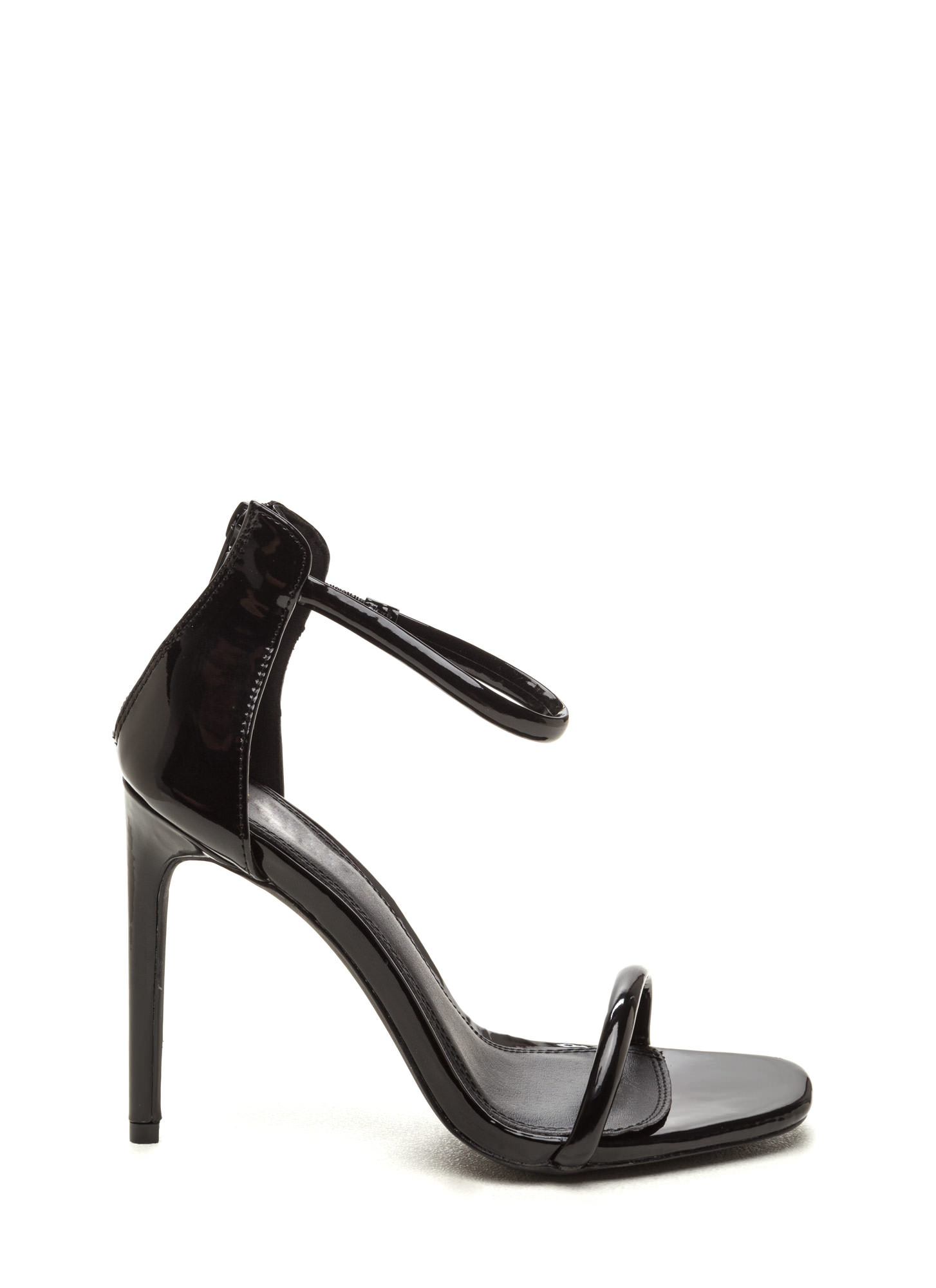 Just One Faux Patent Ankle Strap Heels BLACK NUDE - GoJane.com