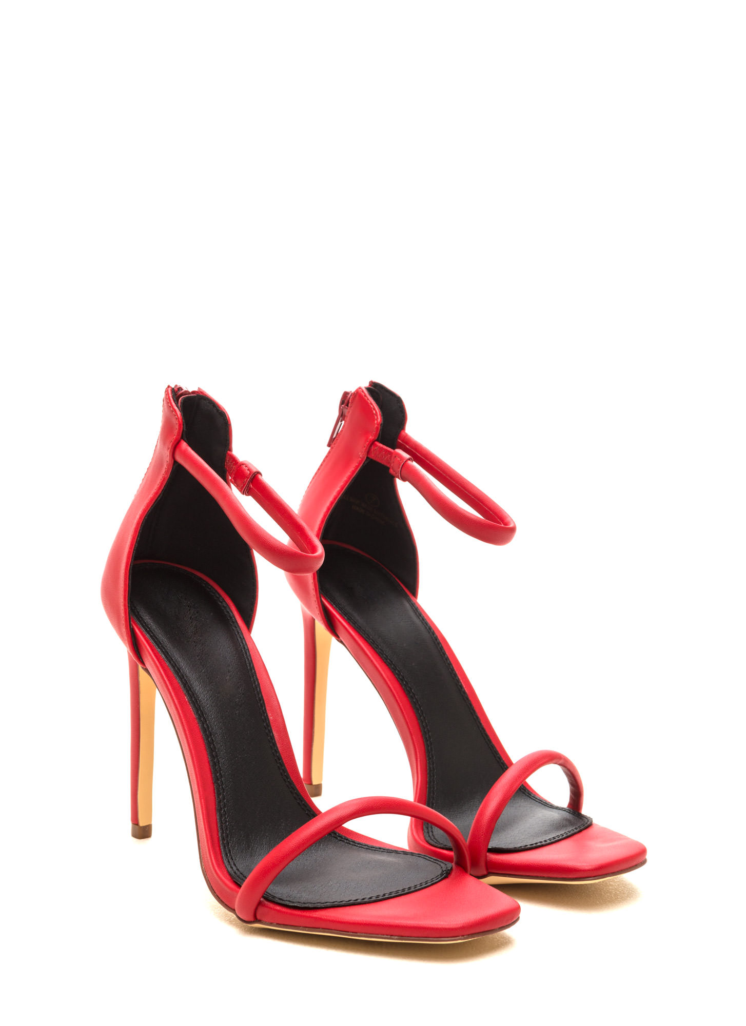 Just One Faux Leather Ankle Strap Heels RED