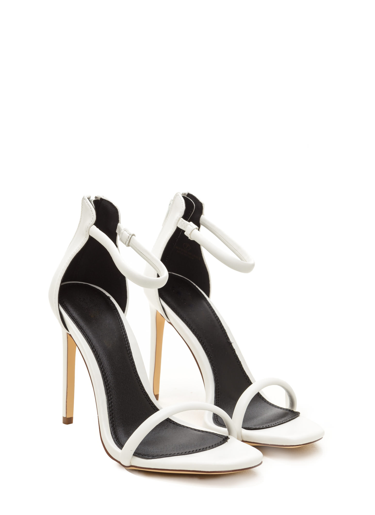 Just One Faux Leather Ankle Strap Heels WHITE