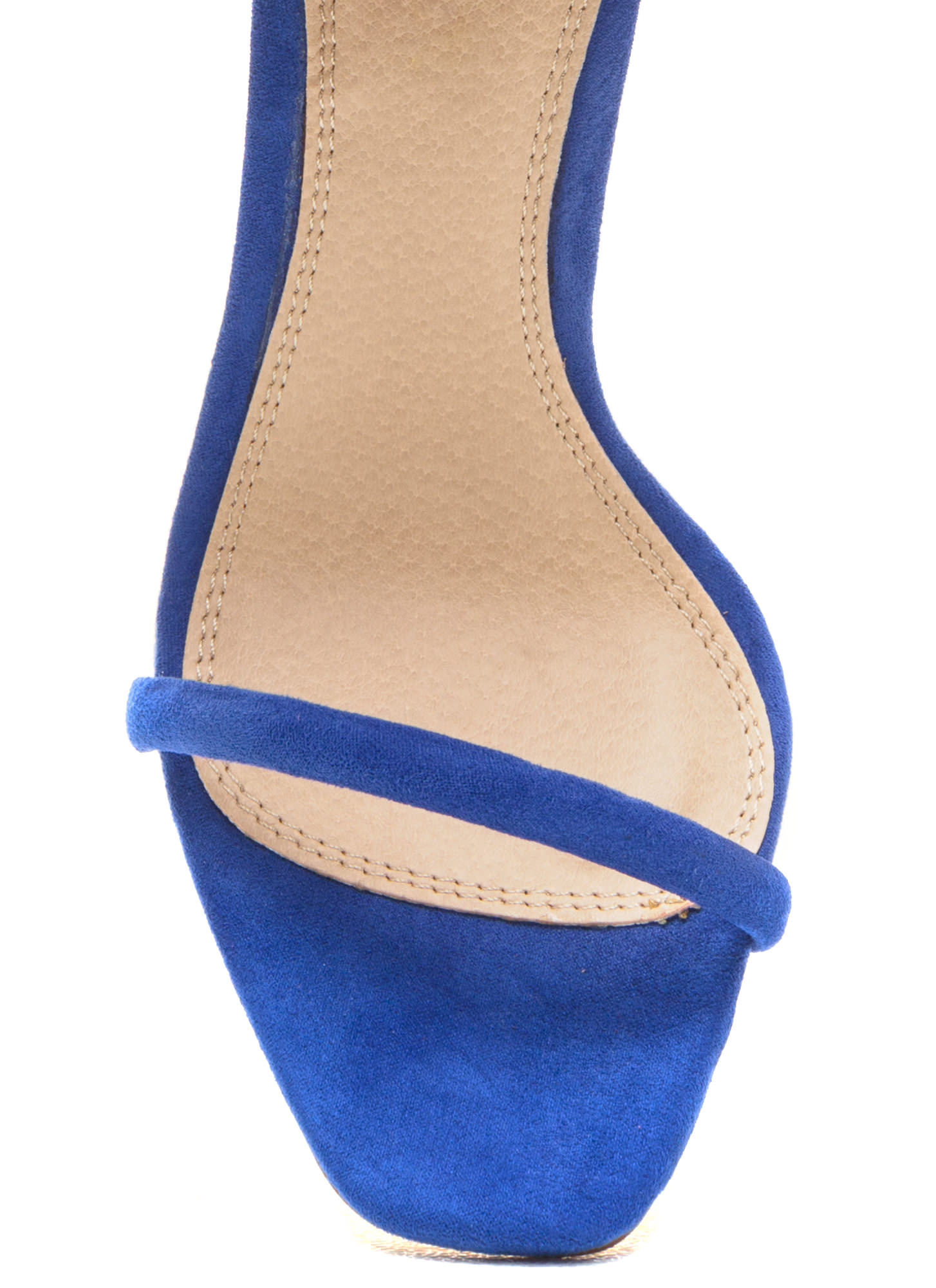 Just One Faux Suede Ankle Strap Heels BLUE