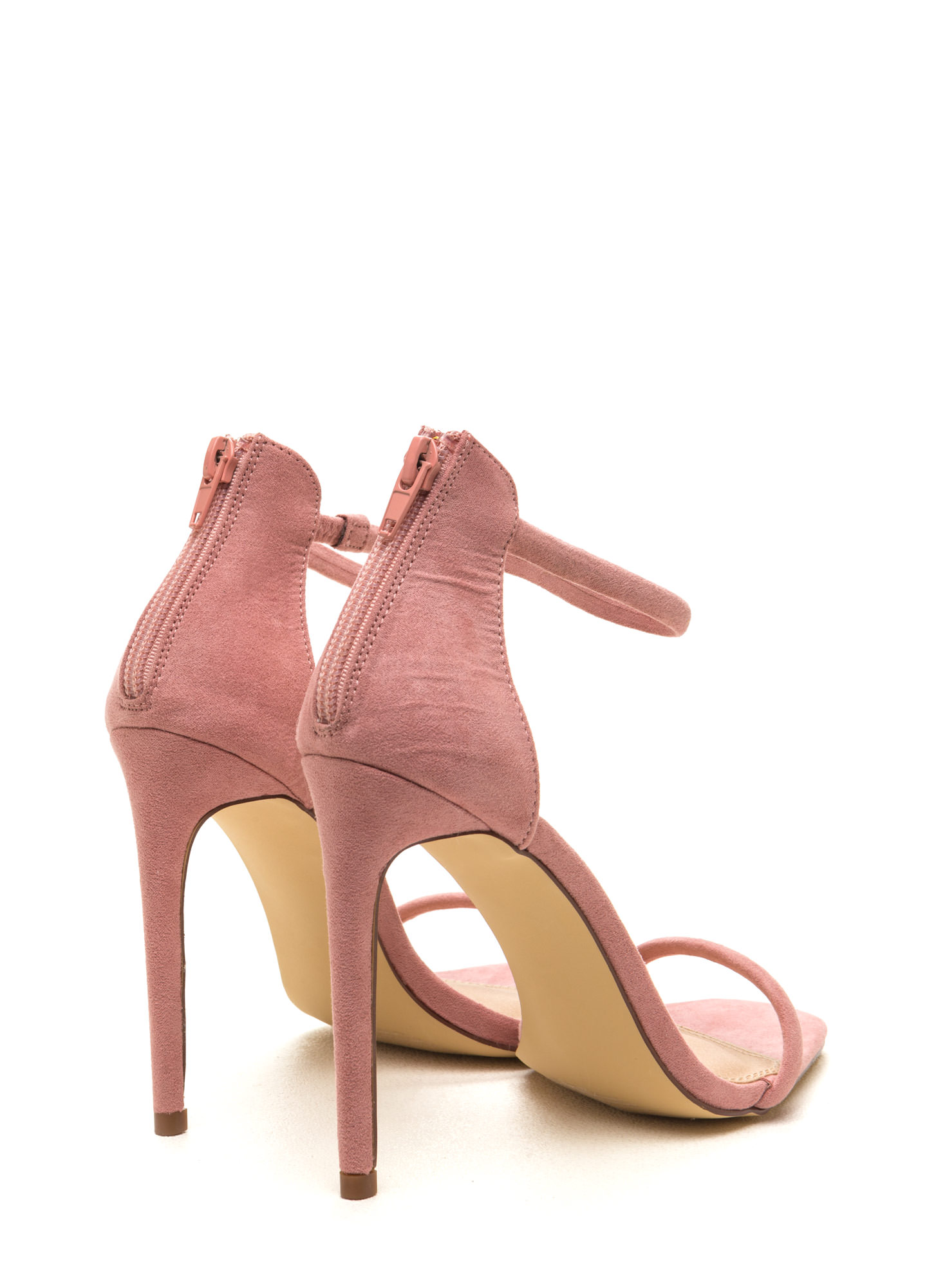 Just One Faux Suede Ankle Strap Heels PURPLE OLIVE TAN DUSTYPINK ...