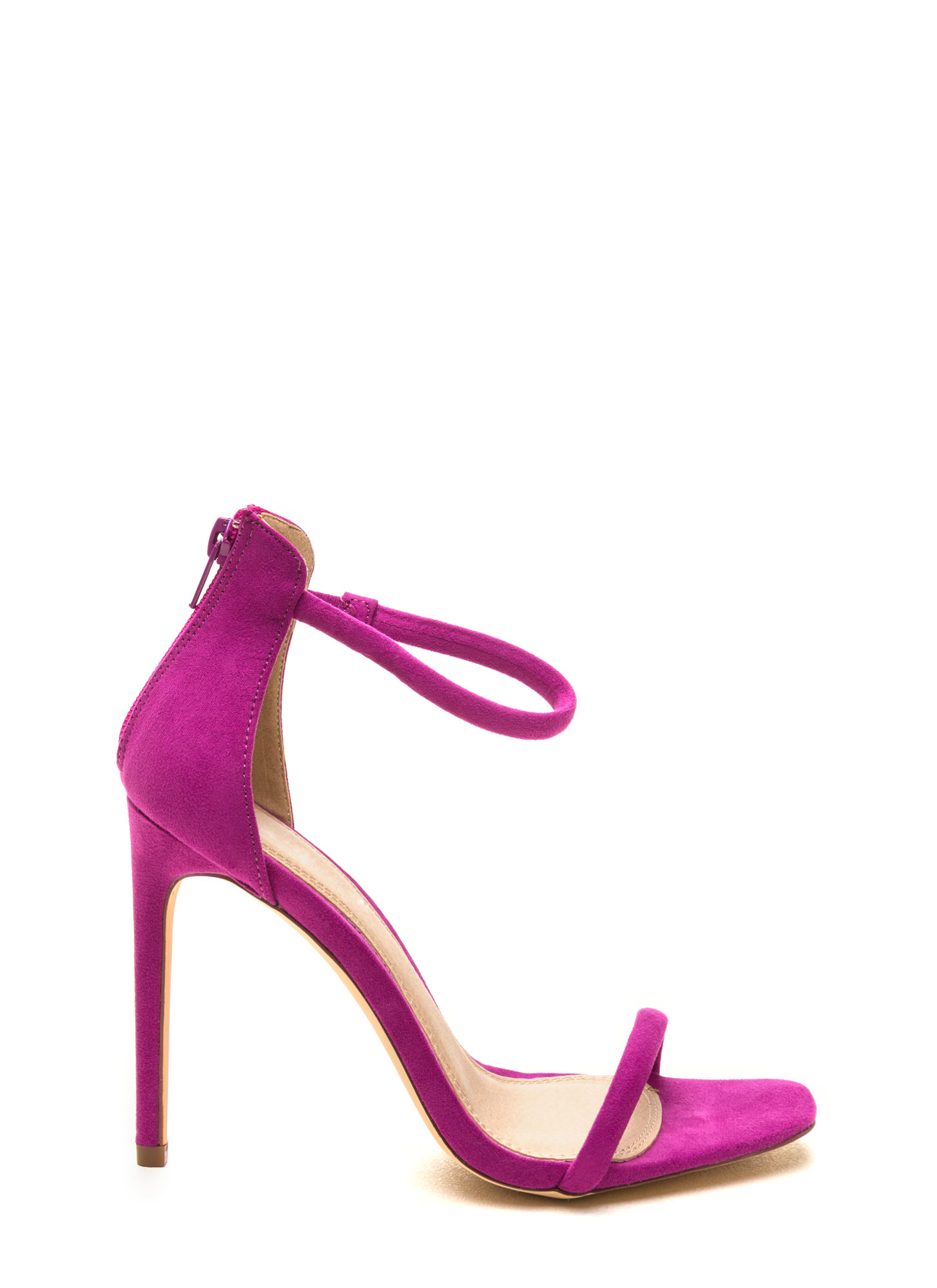 Just One Faux Suede Ankle Strap Heels