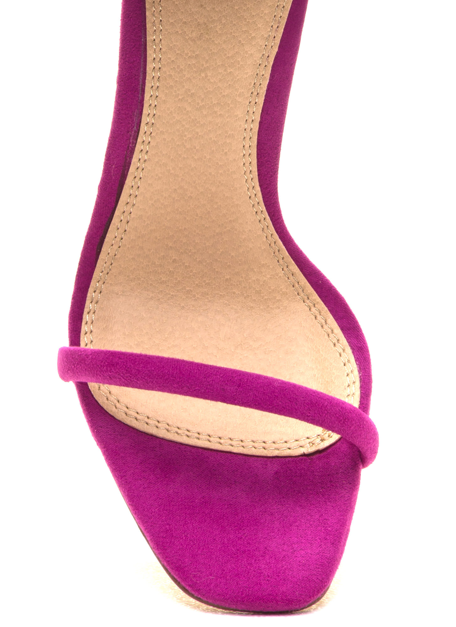 Just One Faux Suede Ankle Strap Heels PURPLE