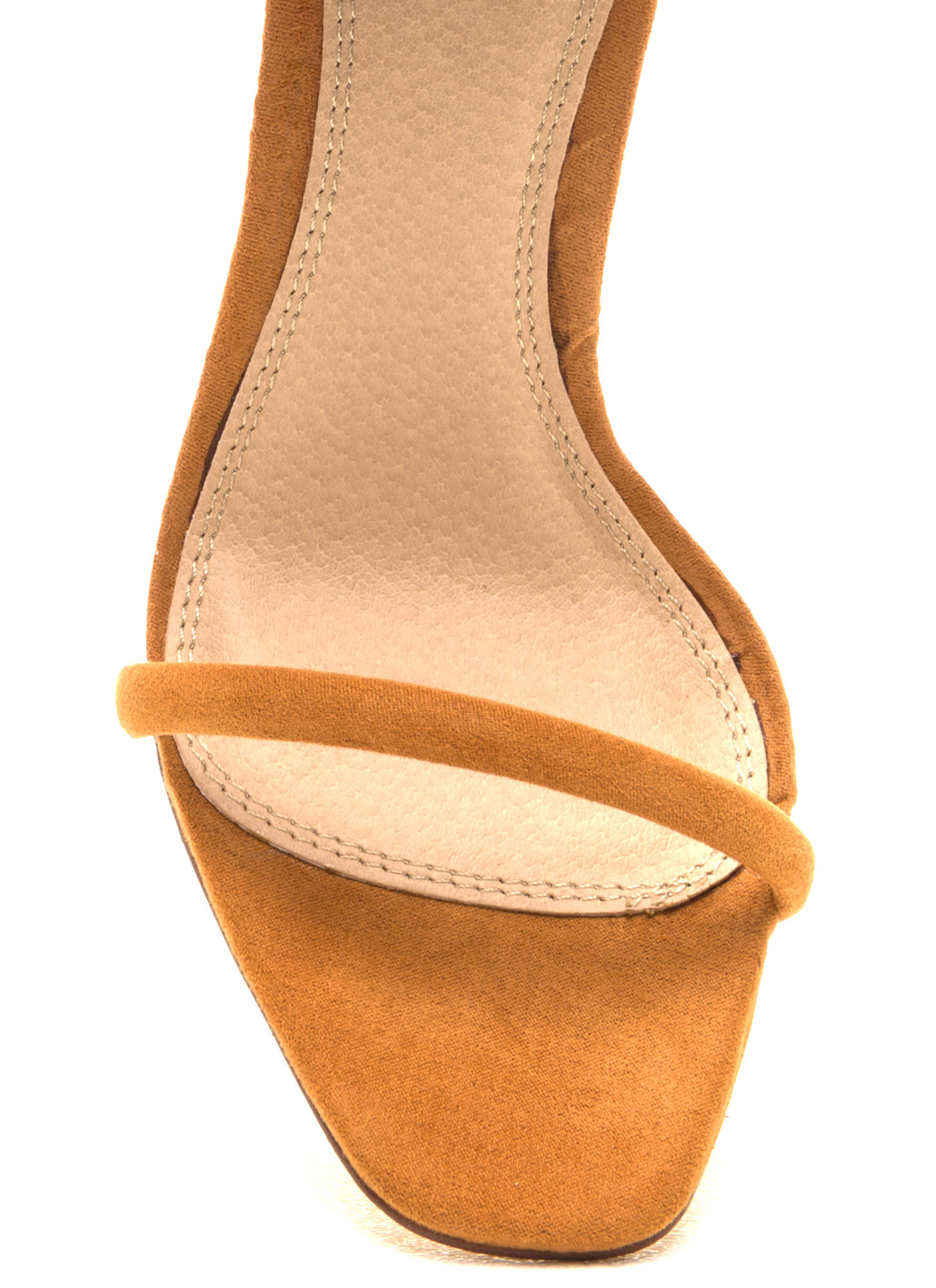 Just One Faux Suede Ankle Strap Heels TAN