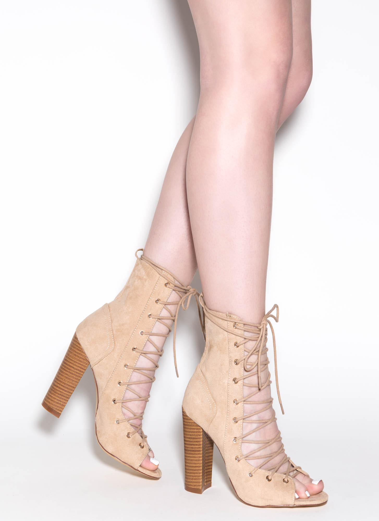 Bootie-ful Chunky Lace-Up Heels BEIGE BLACK CHAROCAL DUSTYPINK ...