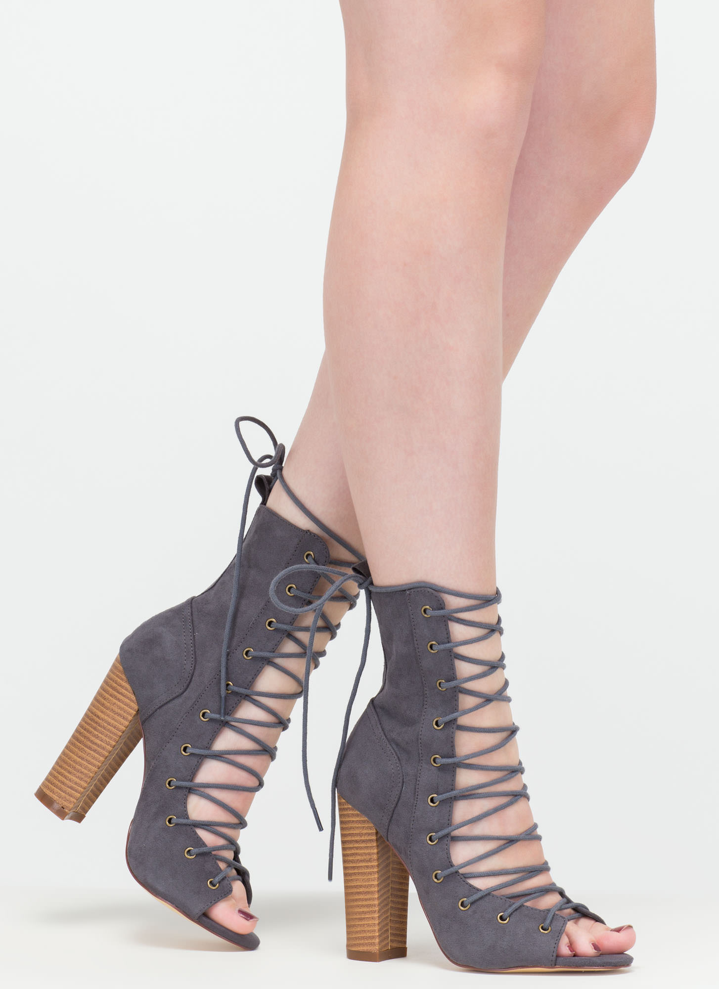 Bootie-ful Chunky Lace-Up Heels BEIGE BLACK CHAROCAL DUSTYPINK