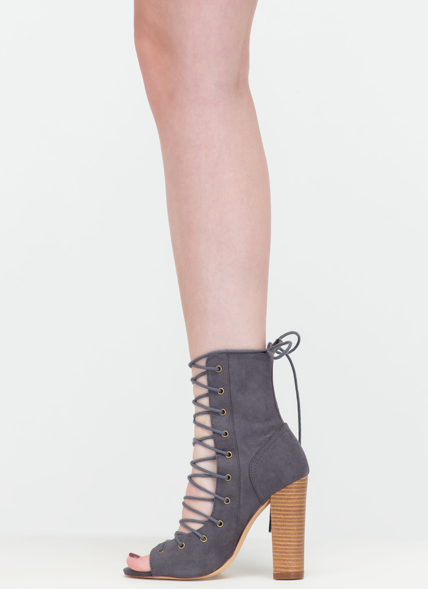 Bootie-ful Chunky Lace-Up Heels CHARCOAL
