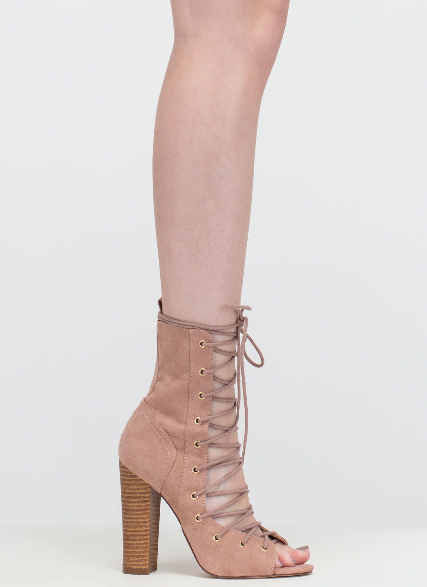 Bootie-ful Chunky Lace-Up Heels MAUVE