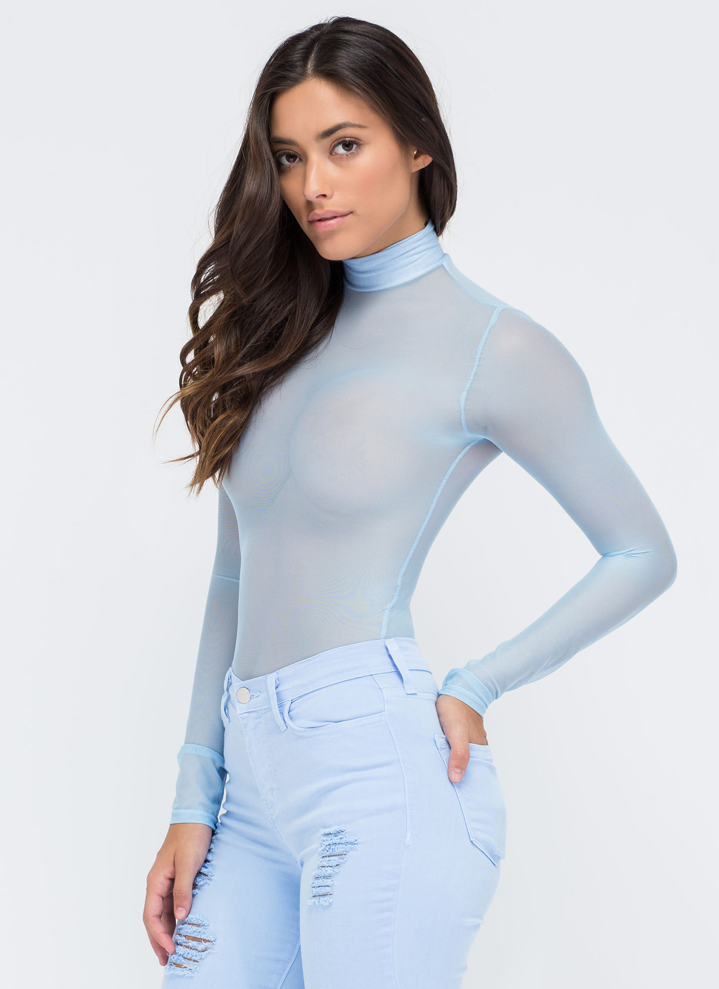 Sheer The View Bodysuit LTBLUE
