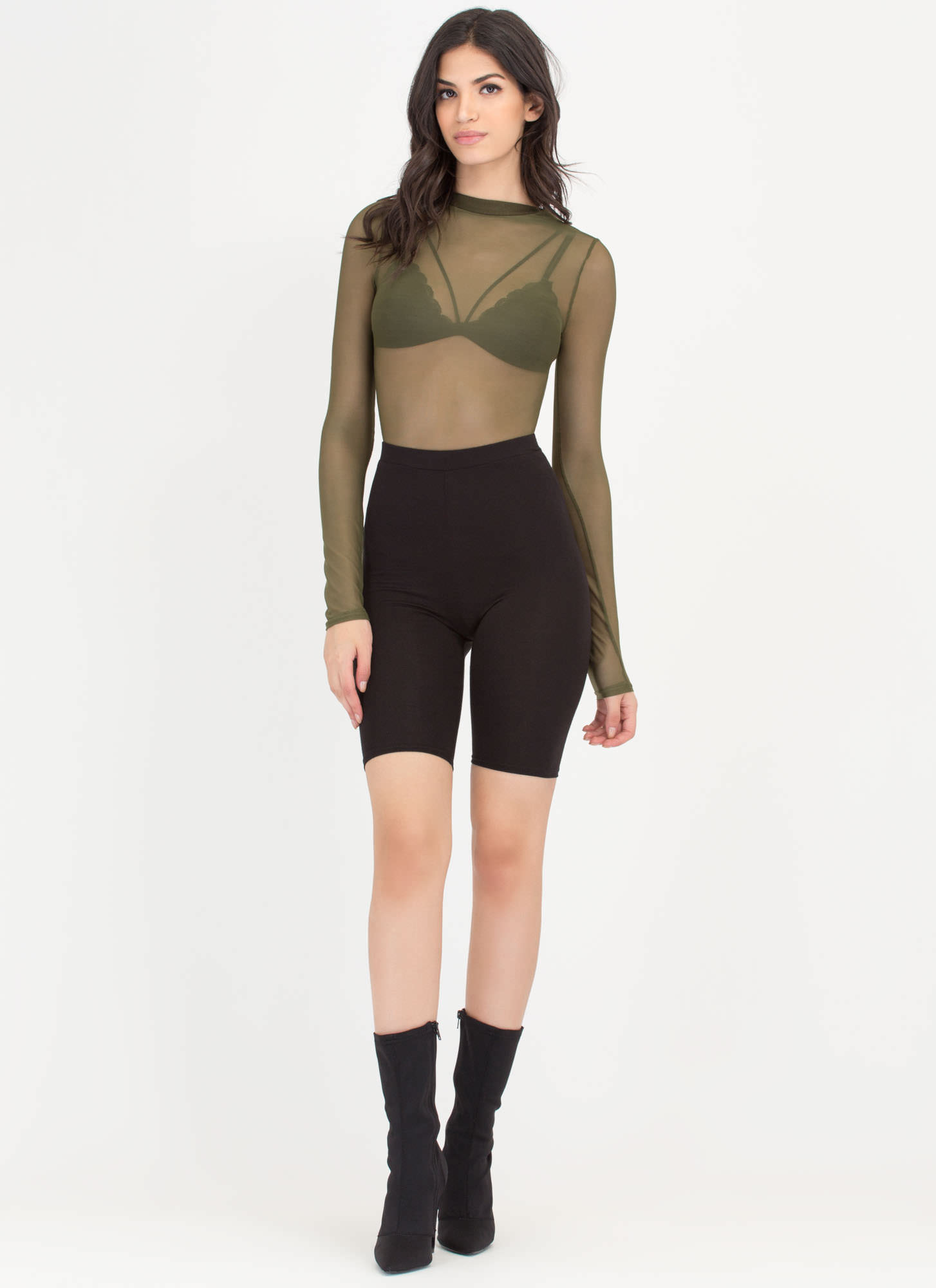 Sheer The View Bodysuit OLIVE