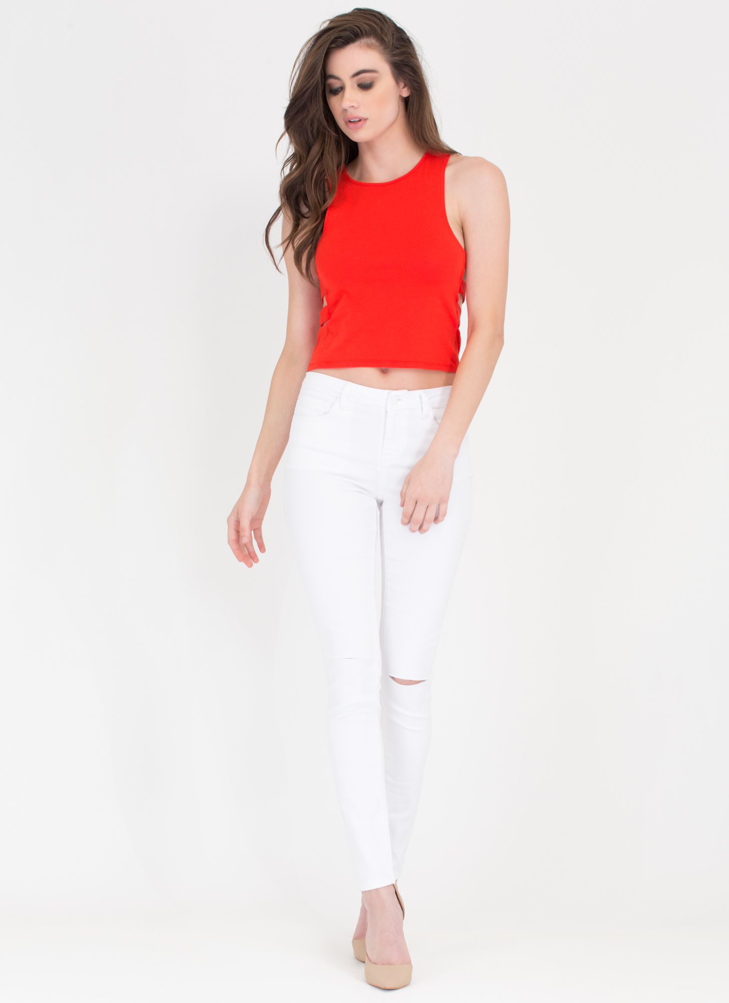 Climb Down Cut-Out Tank RED