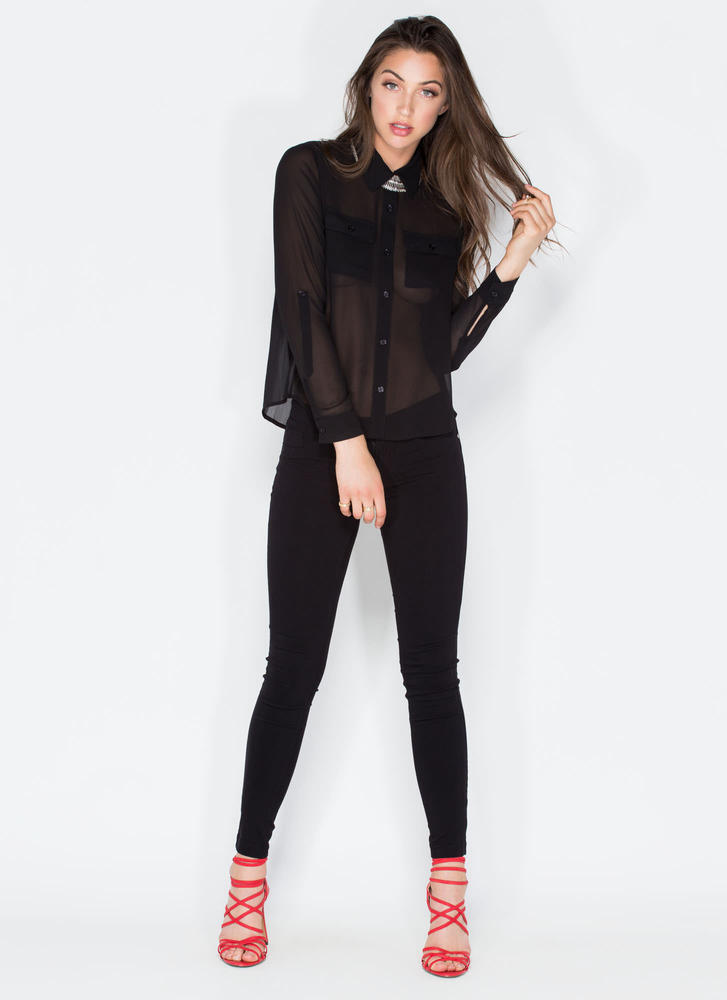 Get To Business Chiffon Blouse BLACK