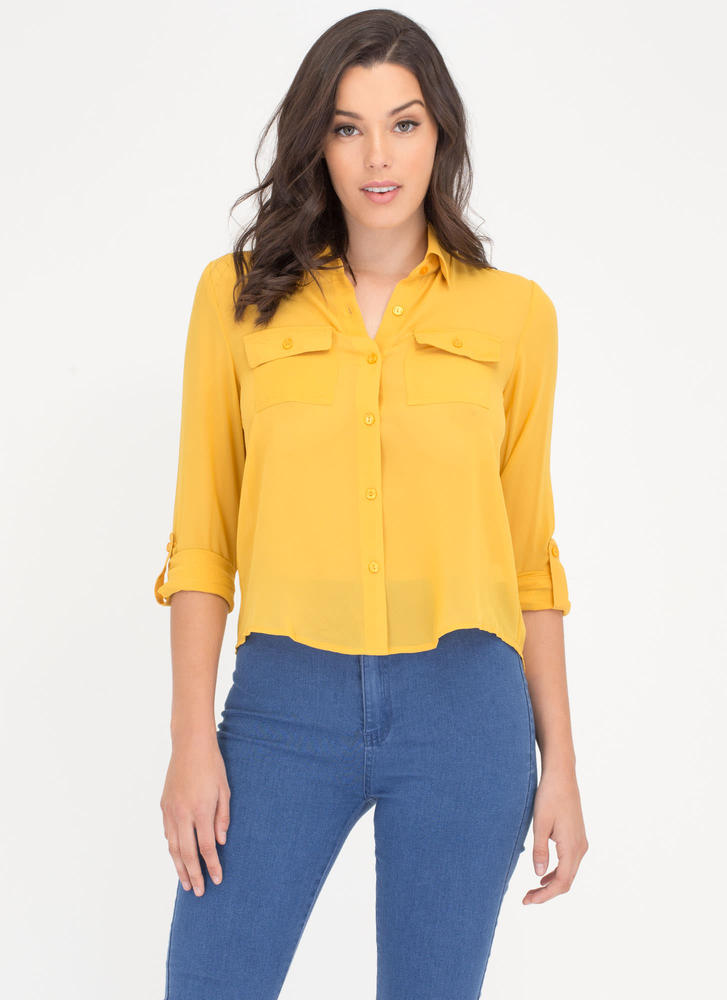 Get To Business Chiffon Blouse MUSTARD