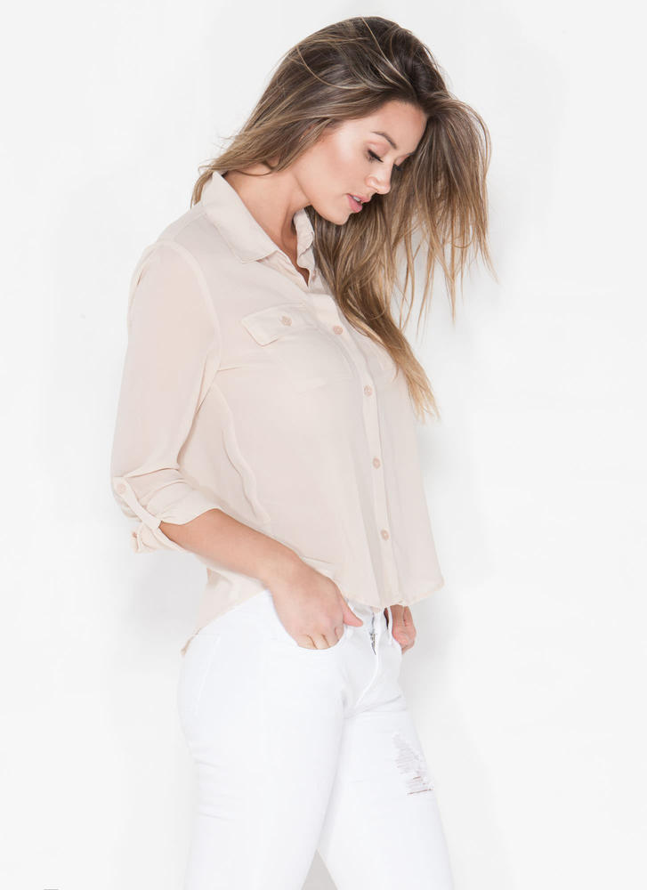 Get To Business Chiffon Blouse NUDE