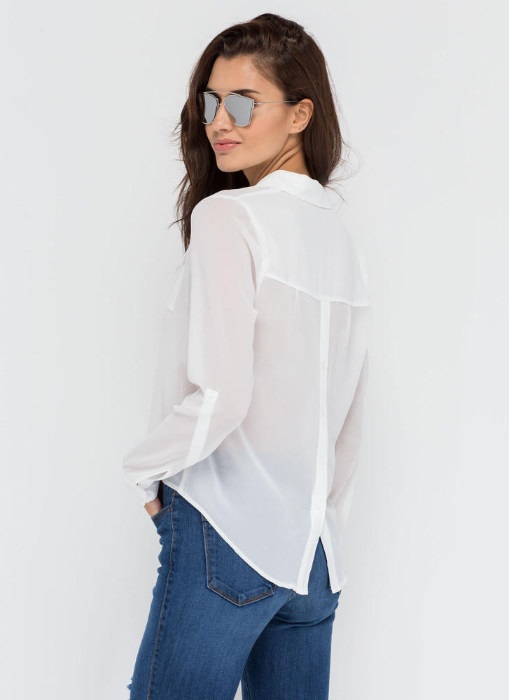 Get To Business Chiffon Blouse WHITE