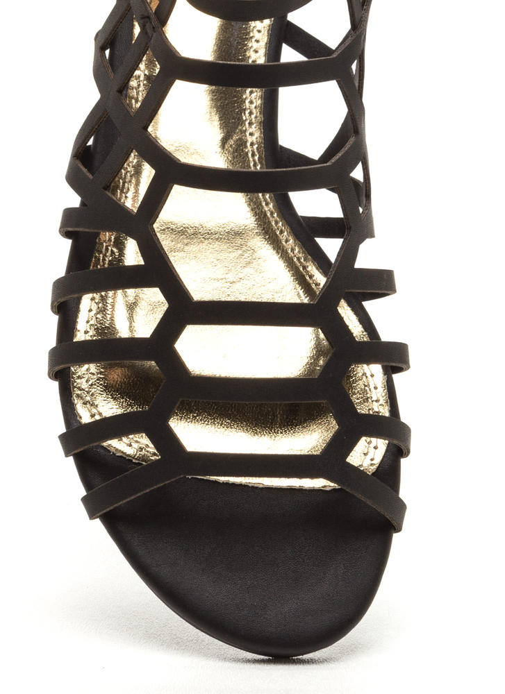 Window Shopping Faux Leather Sandals BLACK