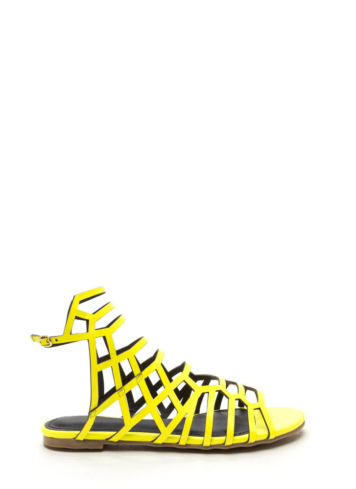 Window Shopping Faux Leather Sandals NEONYELLOW