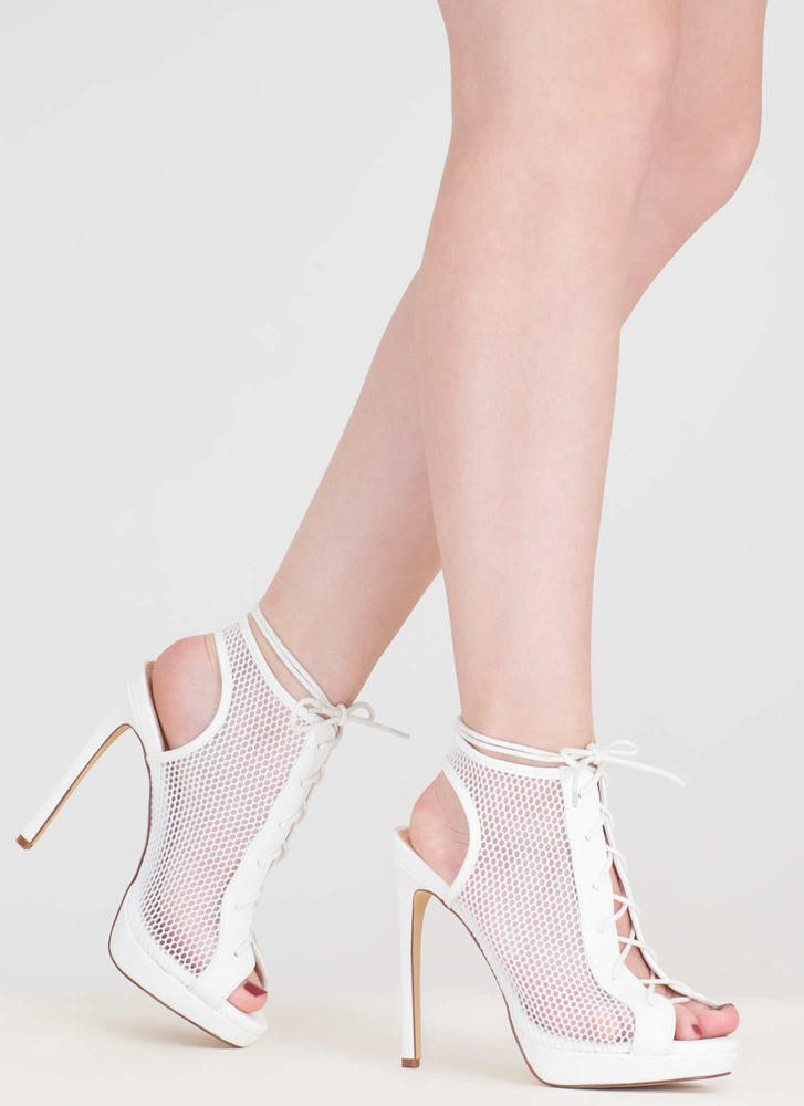 Mesh In Love Lace-Up Booties