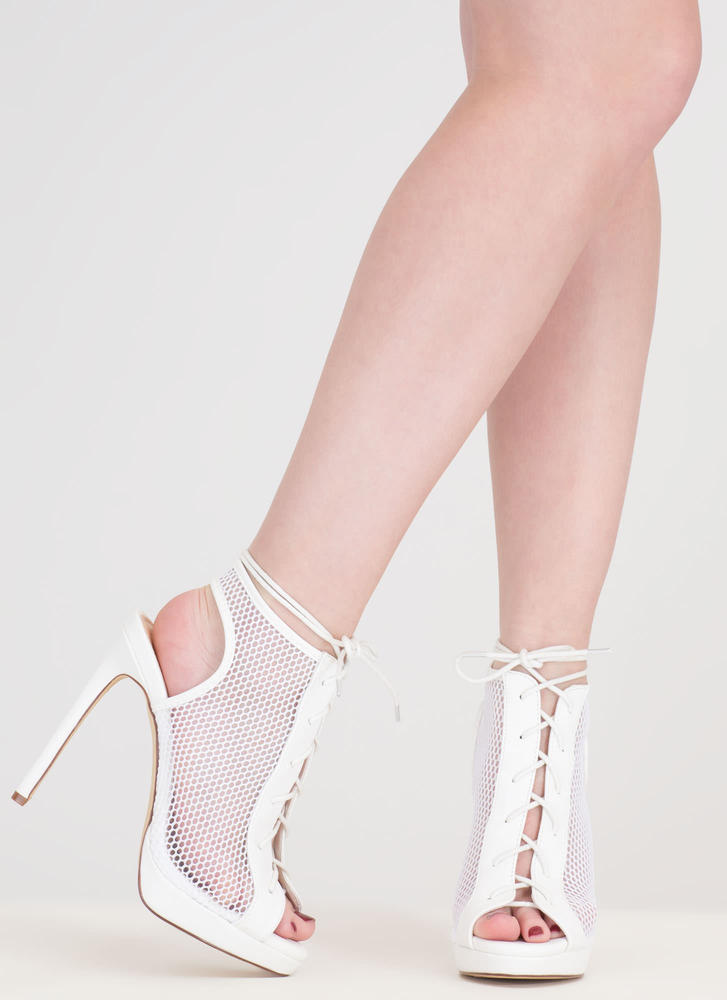 Mesh In Love Lace-Up Booties WHITE