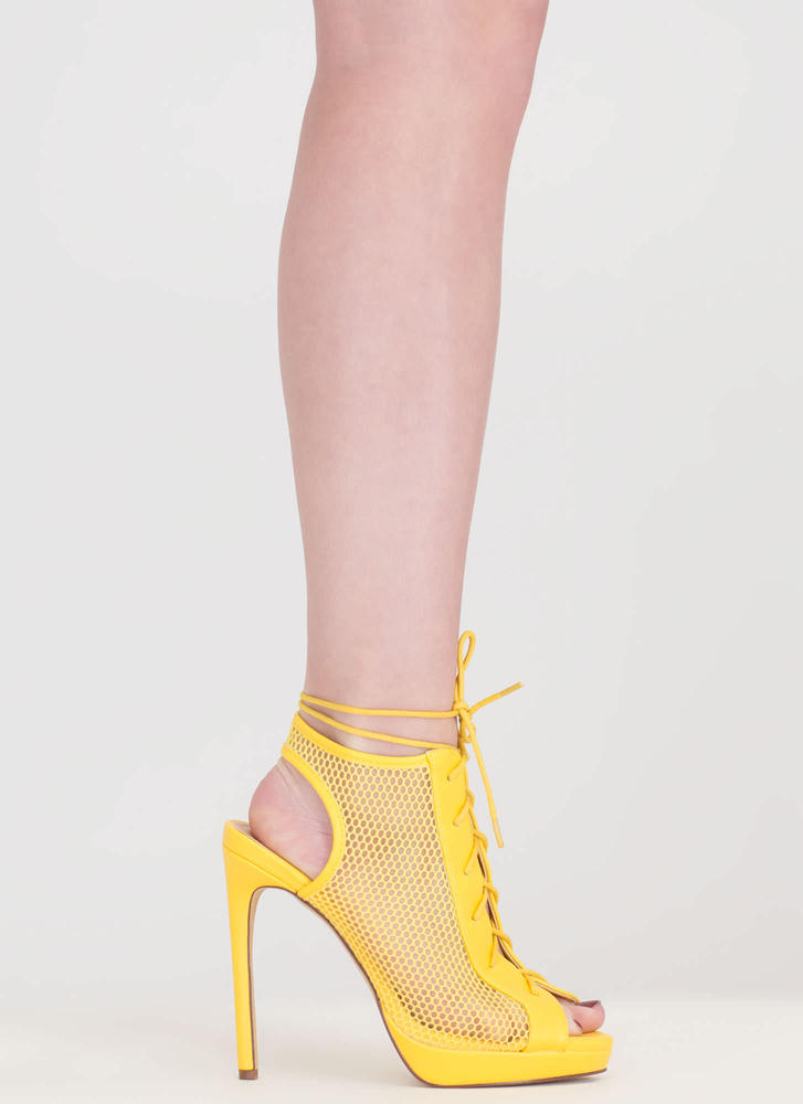 Mesh In Love Lace-Up Booties YELLOW