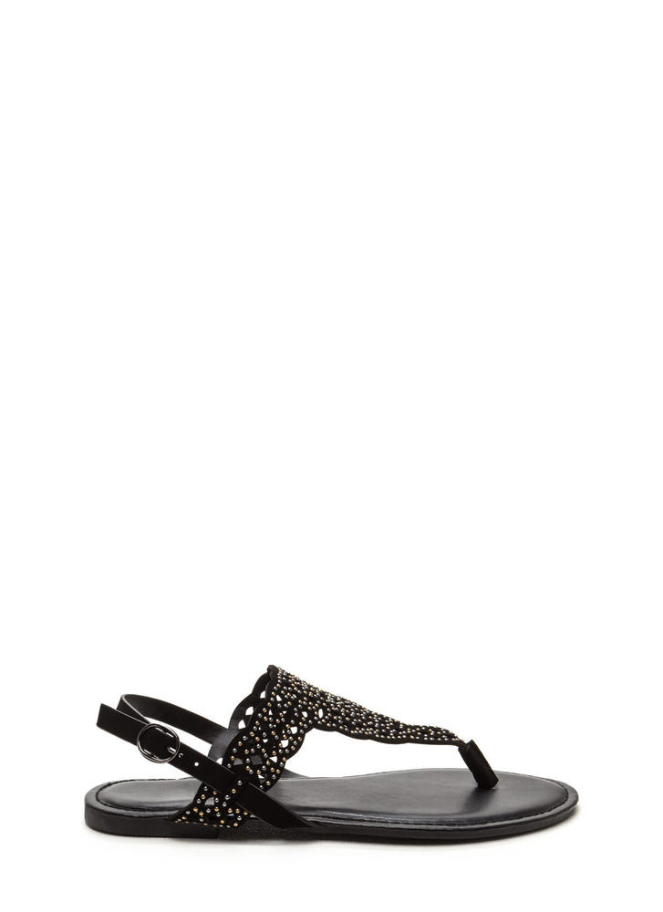 Elegant Flair Faux Nubuck Sandals BLACK