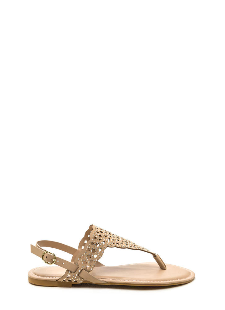 Elegant Flair Faux Nubuck Sandals NUDE
