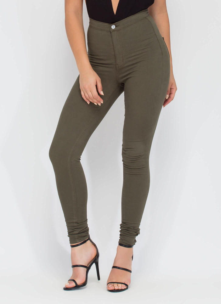 Feel The High-Waisted Skinny Jeans BLUSH TEAL COFFEE OLIVE ...