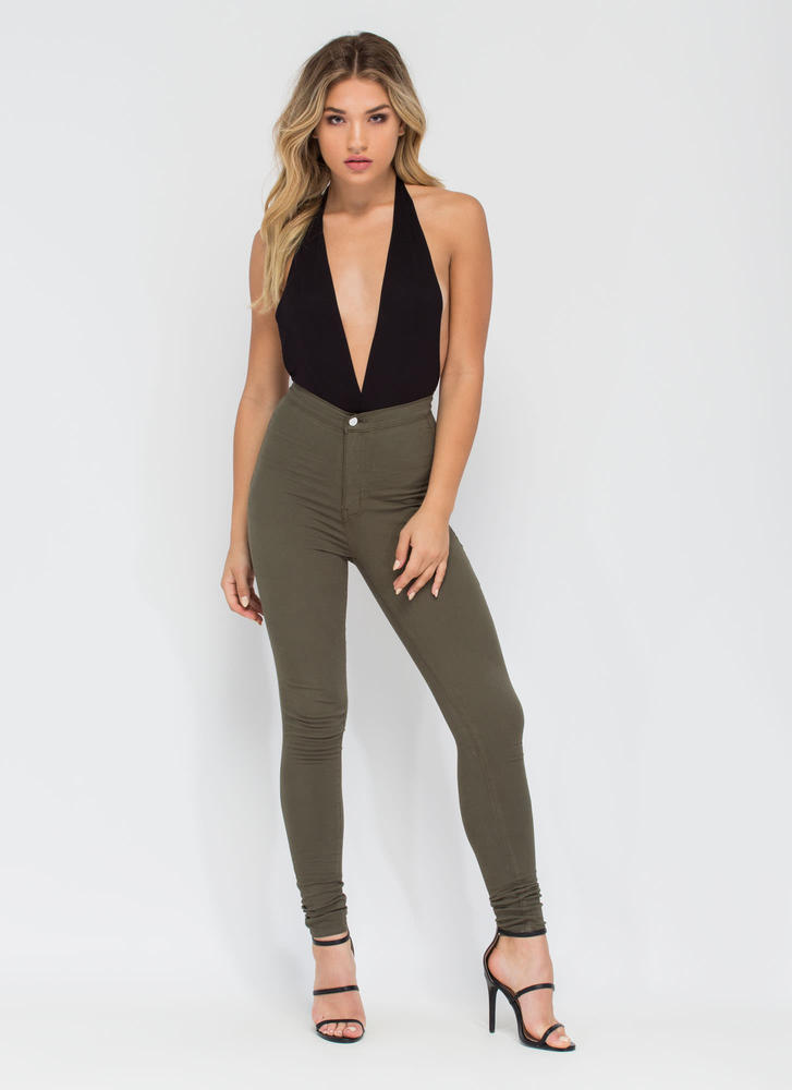 Feel The High-Waisted Skinny Jeans OLIVE