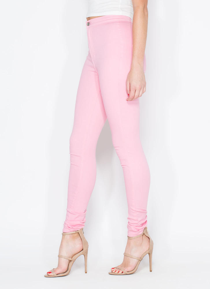 Feel The High-Waisted Skinny Jeans PINK