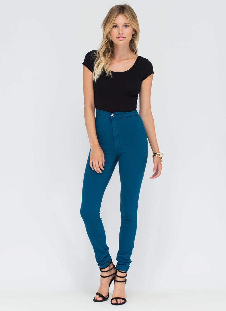 Feel The High-Waisted Skinny Jeans TEAL