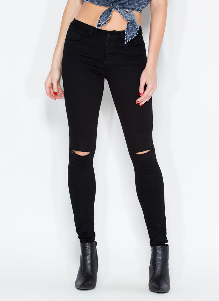 Slit To Be Tied Skinny Jeans
